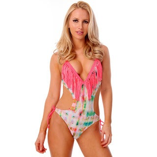 Women's Pink Tie-dye Fringe Plunge V-neck Monokini with Removable Soft Cups
