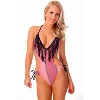 Women's Pink/ Black Fringe Plunge V-neck Monokini with Removable Soft Cups