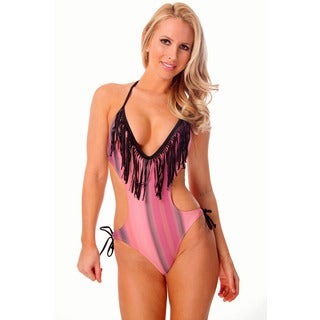Women's Pink/ Black Fringe Plunge V-neck Monokini with Removable Soft Cups