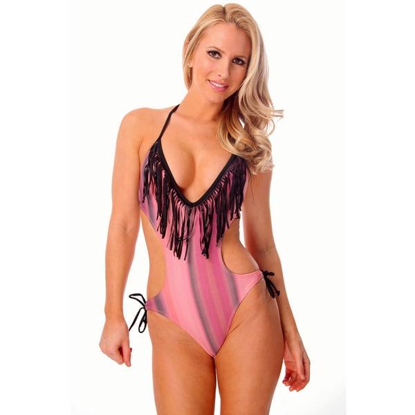 97441106263e9 Women's Pink/ Black Fringe Plunge V-neck Monokini with Removable