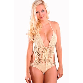 Women's Beige Crochet Halter Neck One Piece