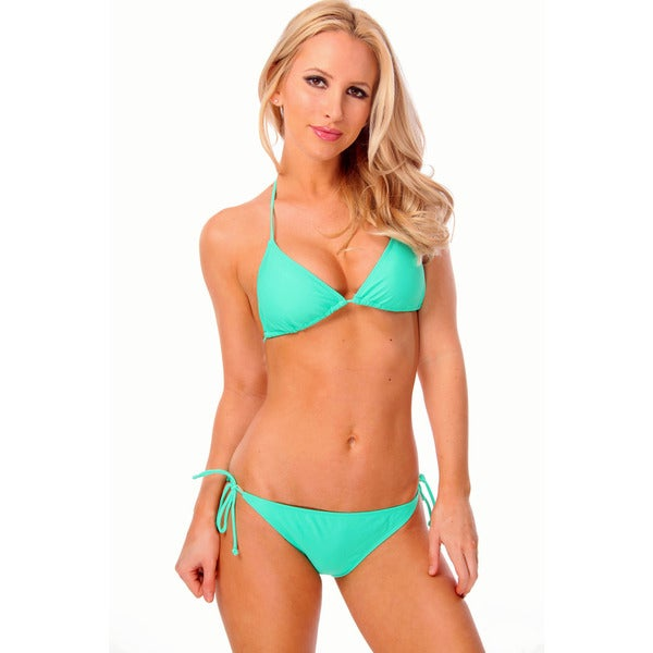 Women's Solid Green Triangle Bikini Bra