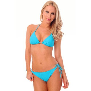 Women's Neon Blue Triangle Bikini Bra