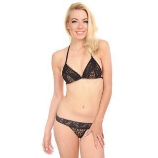 Women's Black Leopard Stretch Lace Triangle Bra
