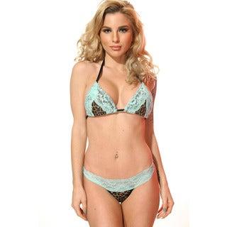 Women's Leopard Print Blue Stretch Lace Triangle Bra
