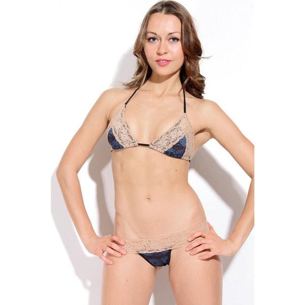 adaaf2318aee7 Shop Women's Navy Snakeskin Tan Lace Triangle Bra Bikini Top - Free  Shipping On Orders Over $45 - Overstock - 10477667