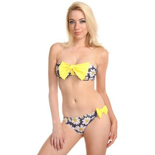 Women's Yellow w/ Daisy Bow Bandeau Bra