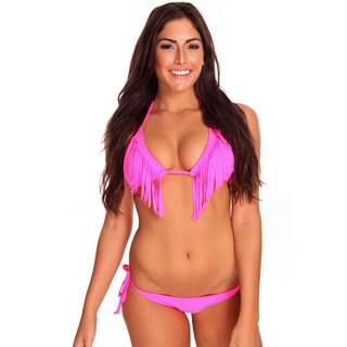 Women's Hot Pink Fringe Triangle Bra