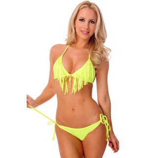 Women's Yellow Fringe Triangle Bra