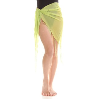 Women's Yellow Sheer Dolphin Print Sarong Wrap with Fringe
