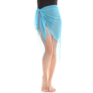 Women's Blue Sheer Dolphin Print Sarong Wrap with Fringe