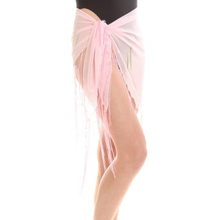 Women's Pink Sheer Dolphin Print Sarong Wrap with Fringe