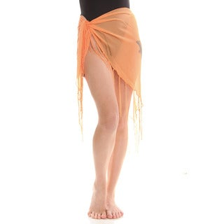 Women's Orange Sheer Dolphin Print Sarong Wrap with Fringe