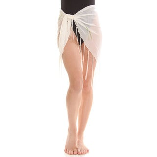 Women's White Sheer Dolphin Print Sarong Wrap with Fringe