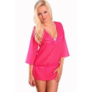 Women's Sheer Chiffon Pink Purple V-neck Tunic with Waist Drawstring