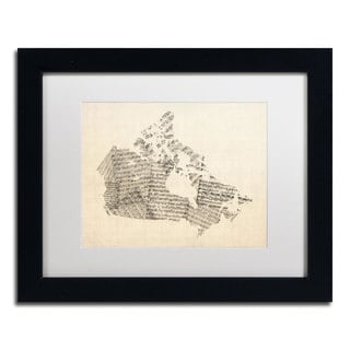 Michael Tompsett 'Old Sheet Music Map of Canada' White Matte, Black Framed Wall Art