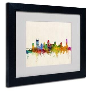 Michael Tompsett 'Nashville Skyline' White Matte, Black Framed Wall Art