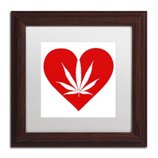Potman 'Love Leaf' White Matte, Wood Framed Wall Art