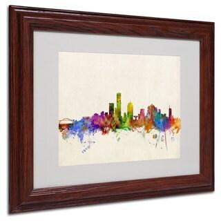 Michael Tompsett 'Milwaukee Skyline' White Matte, Wood Framed Wall Art