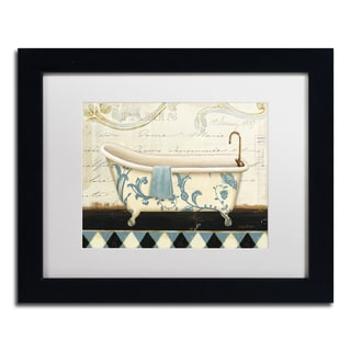 Lisa Audit 'Marche de Fleurs Bath I' White Matte, Black Framed Wall Art