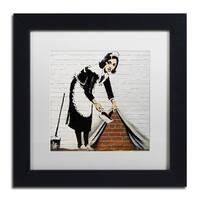 Banksy 'Maid' White Matte, Black Framed Wall Art