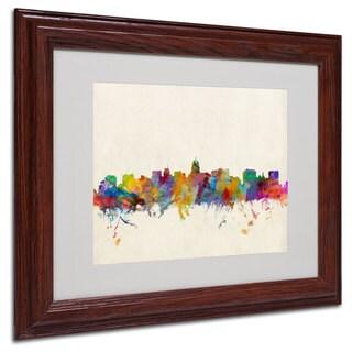 Michael Tompsett 'Madison Skyline' White Matte, Wood Framed Wall Art