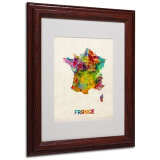 Michael Tompsett 'France Watercolor Map' White Matte, Wood Framed Wall Art