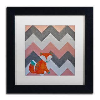 Nicole Dietz 'Fox on Chevron' White Matte, Black Framed Wall Art