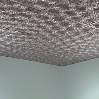 Fasade Cyclone Crosshatch Silver 2' x 2' Lay-in Ceiling Tile