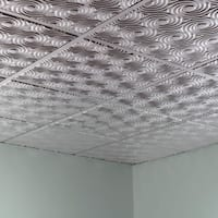 Fasade Cyclone Brushed Aluminum 2' x 2' Lay-in Ceiling Tile