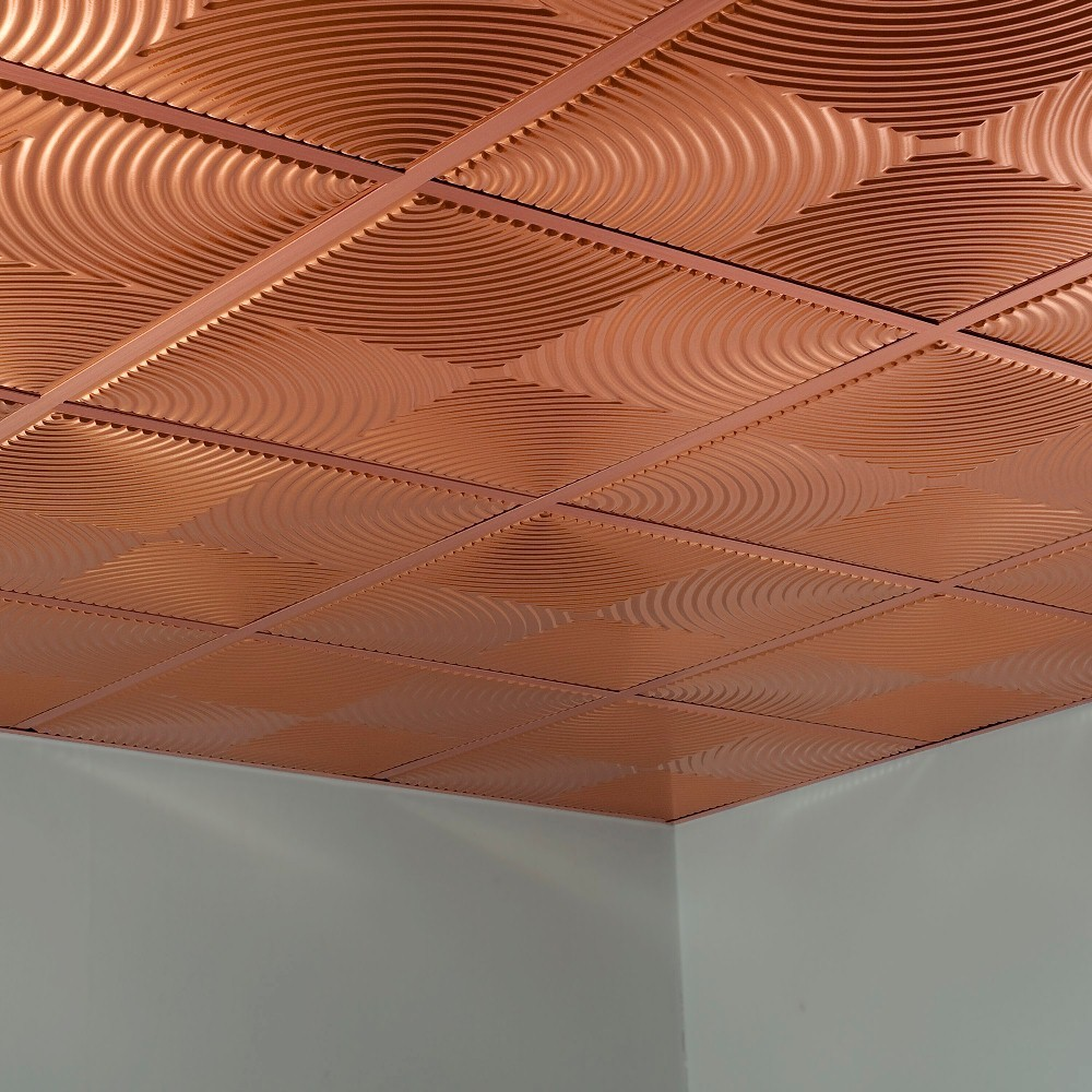 Fasade Echo Polished Copper 2 x 2 Lay-in Ceiling Tile (Assembled - Sample)
