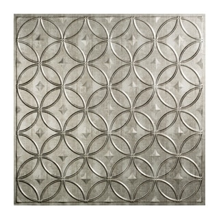 Fasade Rings Crosshatch Silver 2' x 2' Lay-in Ceiling Tile