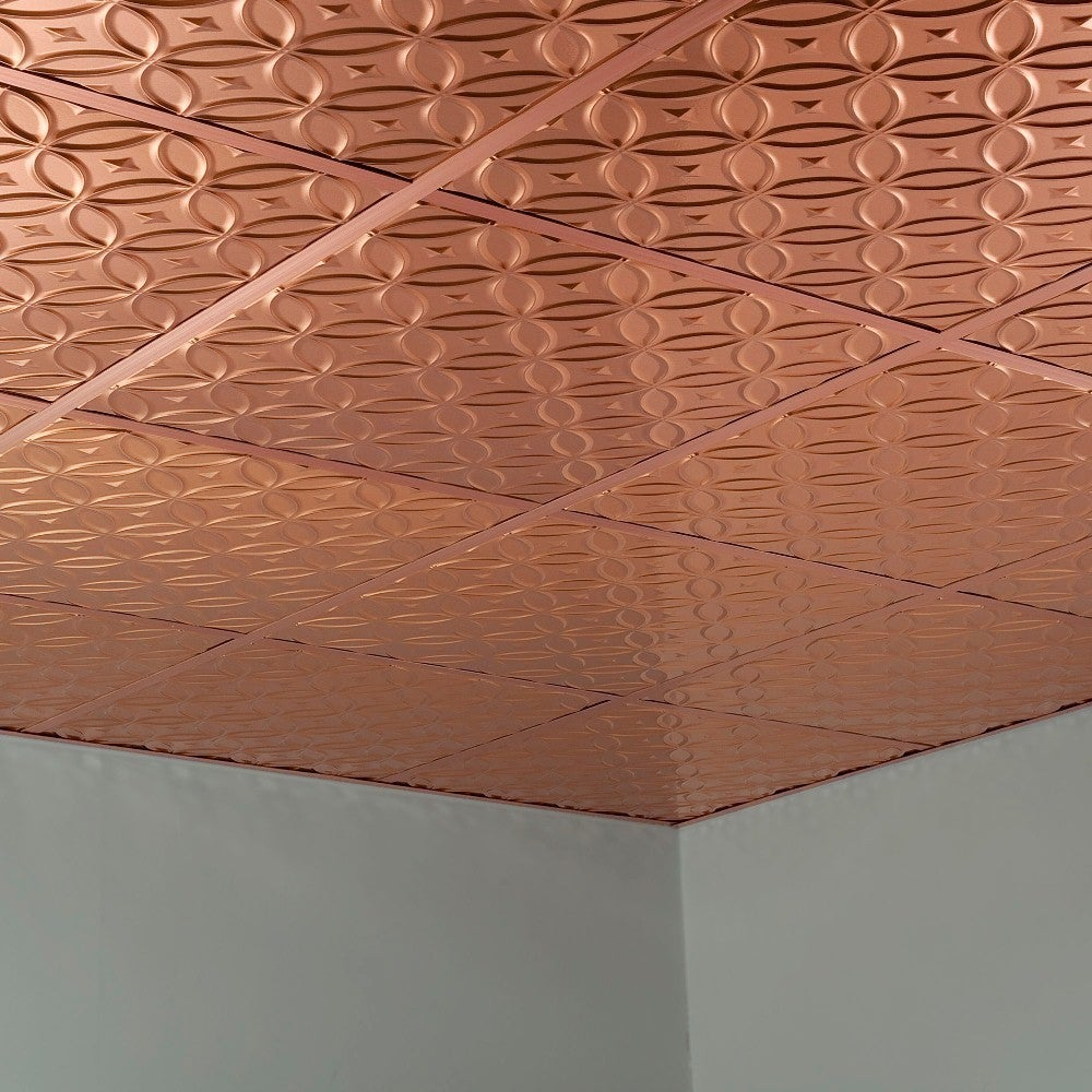 Fasade Rings Polished Copper 2 x 2 Lay-in Ceiling Tile (Assembled - Sample)