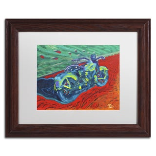 Lowell S.V. Devin 'Expressionist Bike' White Matte, Wood Framed Wall Art