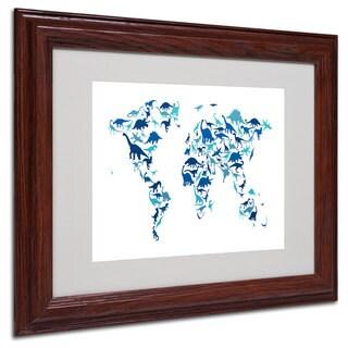 Michael Tompsett 'Dinosaur World Map' White Matte, Wood Framed Wall Art