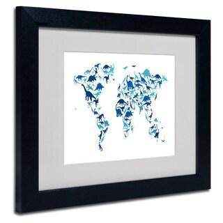 Michael Tompsett 'Dinosaur World Map' White Matte, Black Framed Wall Art