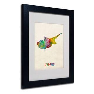 Michael Tompsett 'Cyprus Watercolor Map' White Matte, Black Framed Wall Art