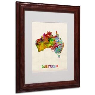 Michael Tompsett 'Australia Map' White Matte, Wood Framed Wall Art