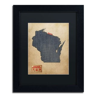 Michael Tompsett 'Wisconsin Map Denim Jeans Style' Black Matte, Black Framed Wall Art