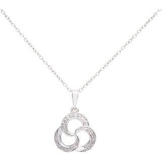 Sterling Silver 1/10ct TDW Diamond Triple Swirl Pendant