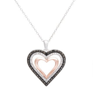 18k Rose-plated Sterling Silver 1/4ct TDW Black and White Diamond Heart Pendant