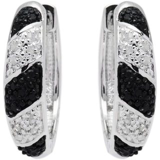 Sterling Silver 1/4ct TDW Black and White Diamond Hoop Earrings (J-K, I2-I3)