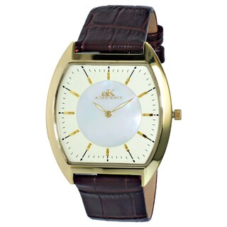 Adee Kaye Men's AK2200-MGG Slim Collection Goldtone Stainless Steel Watch