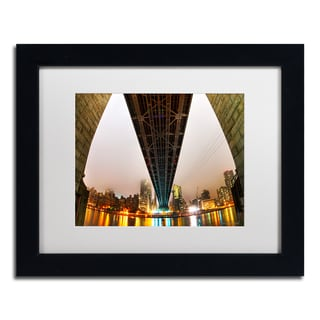 David Ayash 'Under the Queensboro Bridge' White Matte, Black Framed Wall Art
