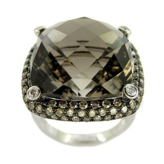 Kabella 14k White Gold 1 2/5ct TDW and Smokey Quartz Cocktail Ring (SI1-SI2)