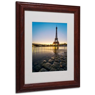Mathieu Rivrin 'Sunrise In Paris' White Matte, Wood Framed Wall Art