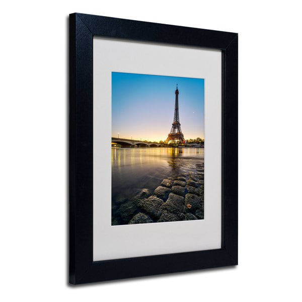 Mathieu Rivrin 'Sunrise In Paris' White Matte, Black Framed Wall Art