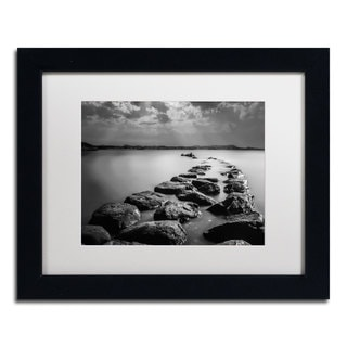 Erik Brede 'Silent Water' White Matte, Black Framed Wall Art