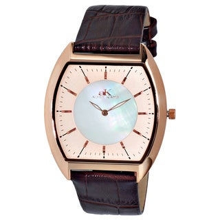 "Adee Kaye Men's AK2200-MRGWT ""Slim Collection"" Rose tone/White dial"