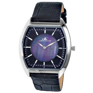 """Adee Kaye Men's AK2200-MBK """"Slim Collection"""" Mother of Pearl Watch"""
